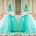 2016 azul claro musulmán islámica boda vestidos con Hijab Lace Appliques vestido de bola árabes elegantes manga larga vestidos de boda
