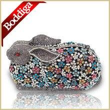Feinen gehobenen 3D geformt kaninchen Mix Kristallen Bunny kupplung-cocktail party handtasche abend aushöhlen clutch Abendtasche Handtasche Tasche