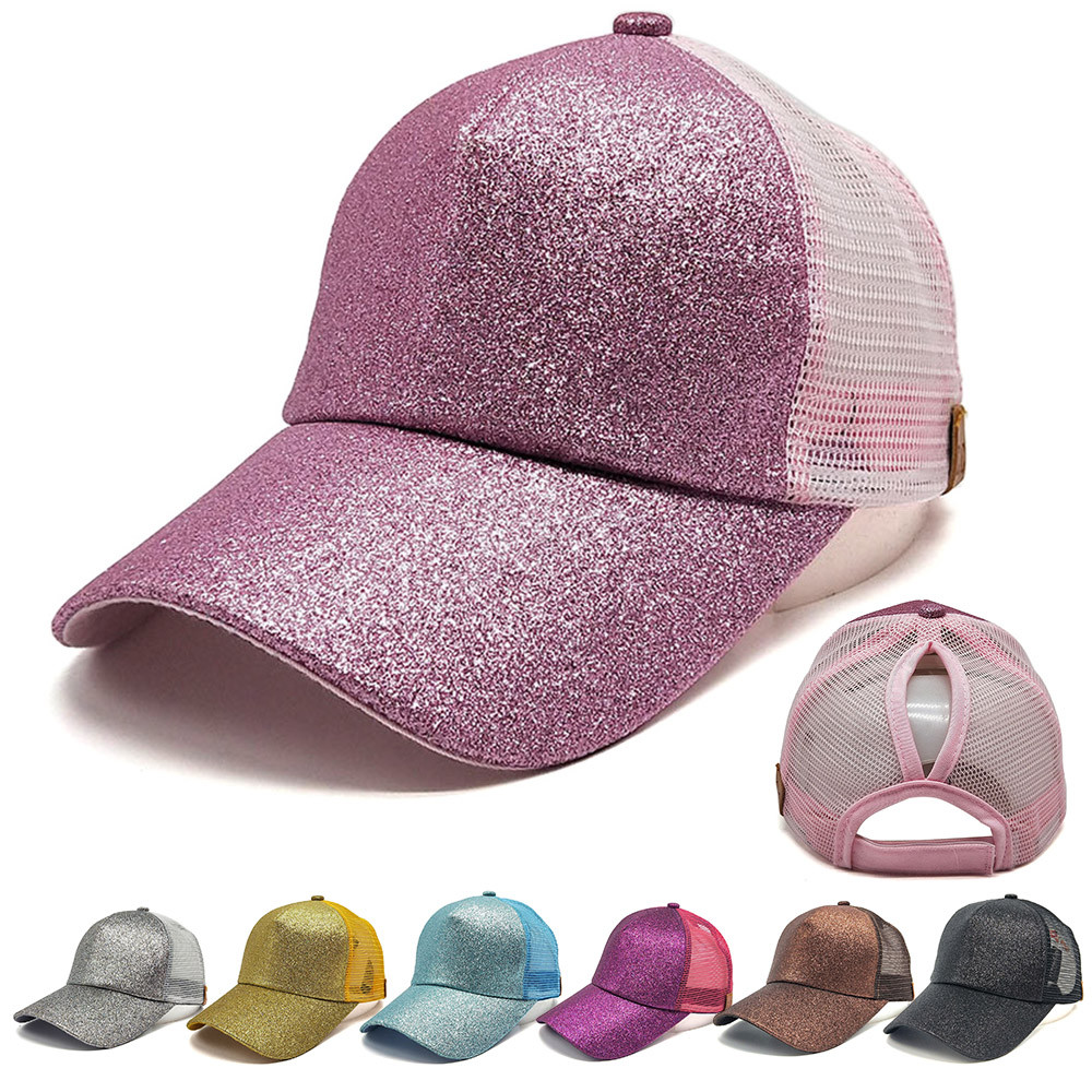 Sleeper #5001 Women Ponytail Cap Kappe Sequins Shiny Messy Bun Snapback Hat Sun Caps Cotton  beauty accessories Free Shipping