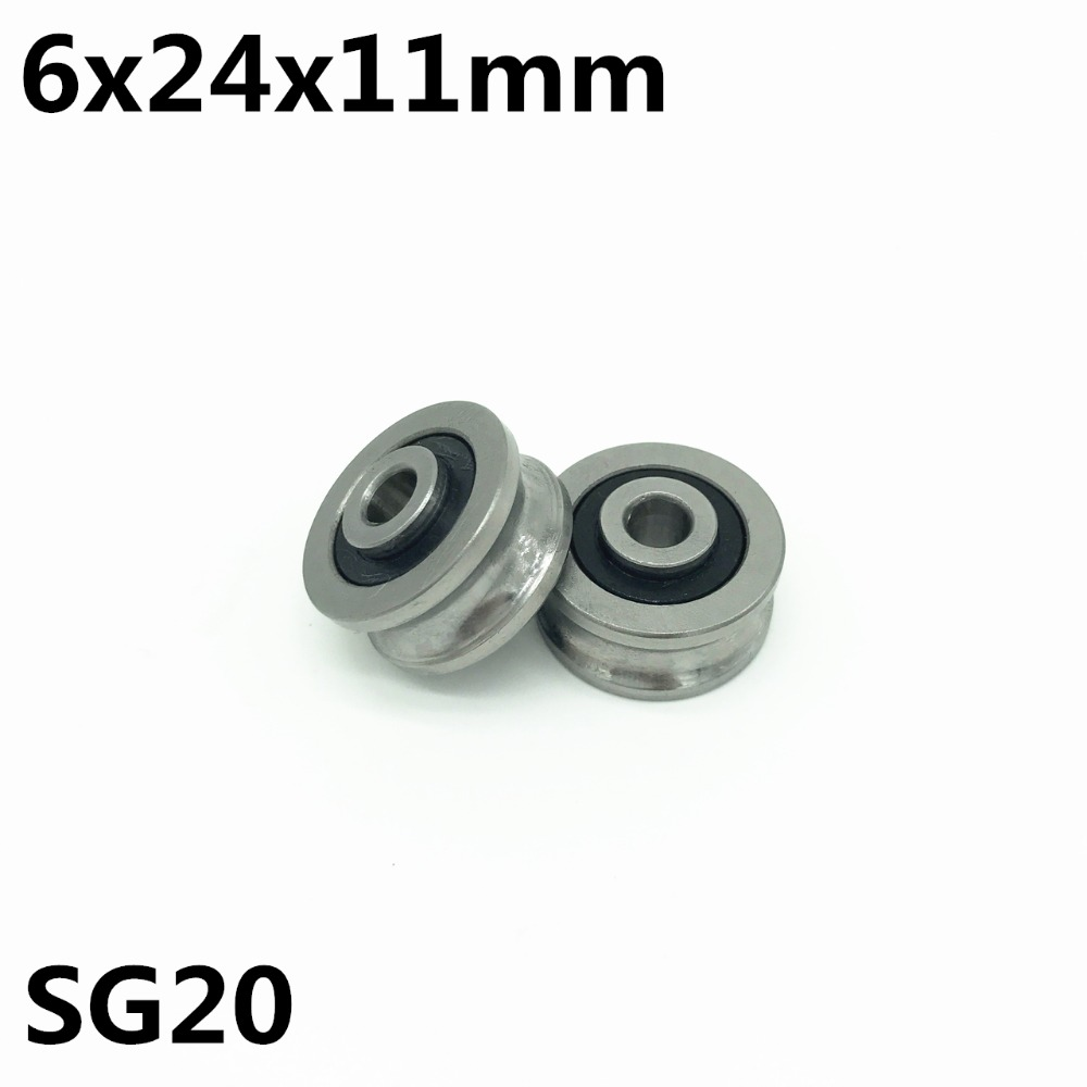 10pcs SG20 U Groove Bearing 6x24x11 Mm Double Row Sealed Ball Bearing For 8mm Linear Guide Rail SG8RS High Quality