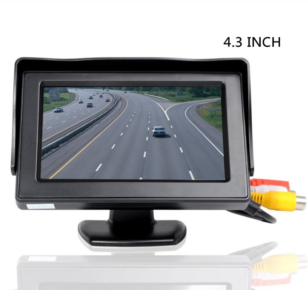 4,3 tommers farge TFT LCD HD Digital Panel Auto Car Rearview Monitor Backup Parkering Vehicle Bakfra Monitor for bakre kameraer