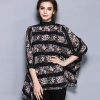 Europe New Fashion Blusas Femininas Kimono Plus Size Loose Long High Quality Vintage Printing Chiffon Blouse
