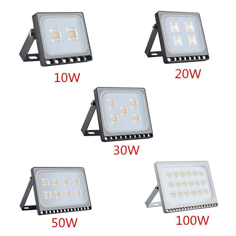 1 unids ultrafino llevó la luz de inundación 10 W 20 W 30 W 50 W 100 W IP65 220 V foco LED reflector de iluminación al aire libre de la pared de la lámpara del reflector
