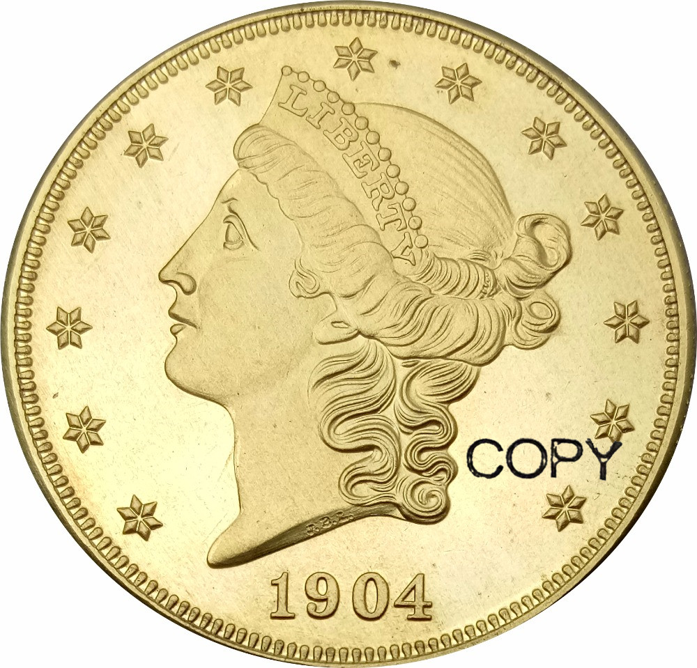United Stated Liberty Head Gold coins 1904 1904 S Value Twenty Dollars Brass Copy Coin image