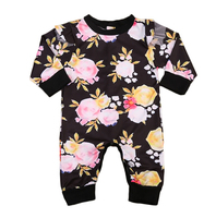 Newborn Baby Girls Clothing Romper Long Sleeve Cotton Cute Flower Jumpsuit Outfit Sunsuit Clothes Autumn Baby