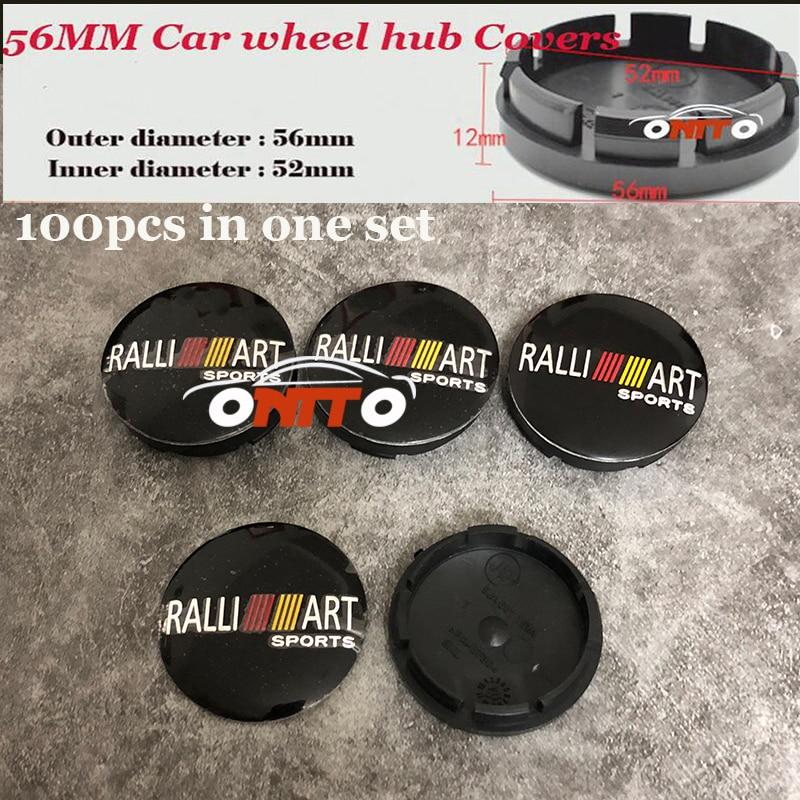 100pcs/lot 56mm label Rims Wheels Cover For Ralliart Logo badge Car Emblem Wheel Hub Cap For Mitsubishi Auto accessories