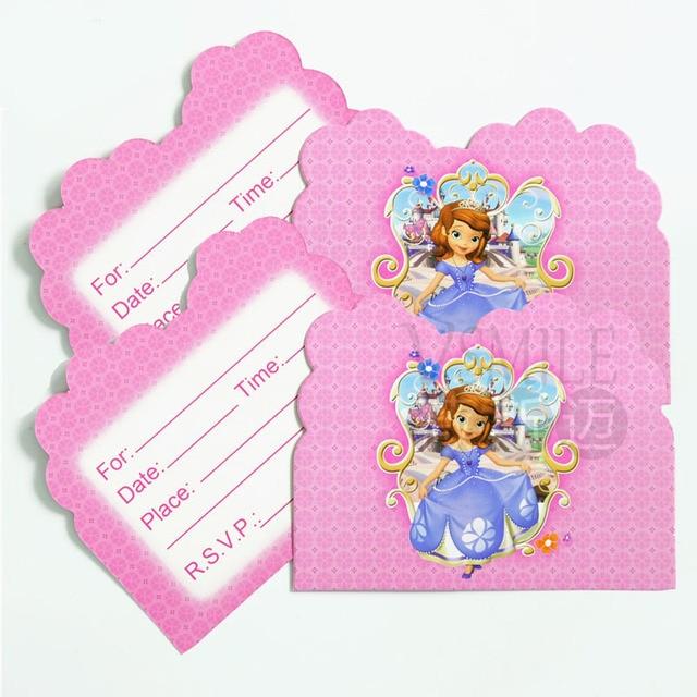 10pcs Pretty Sofia Disney Princess Mickey Minnie Mouse Invitation
