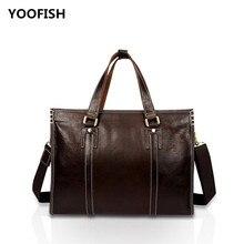купить YOOFISH Hot selling Casual Genuine Leather Handbag Laptop Business bag Unisex Free Shipping Coffee/Brown XZ-063 недорого