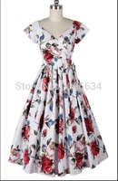 Free Shipping 2015 plus size real picture New wholesales cheaping floral printing rockabilly women sexy party vintage dresses