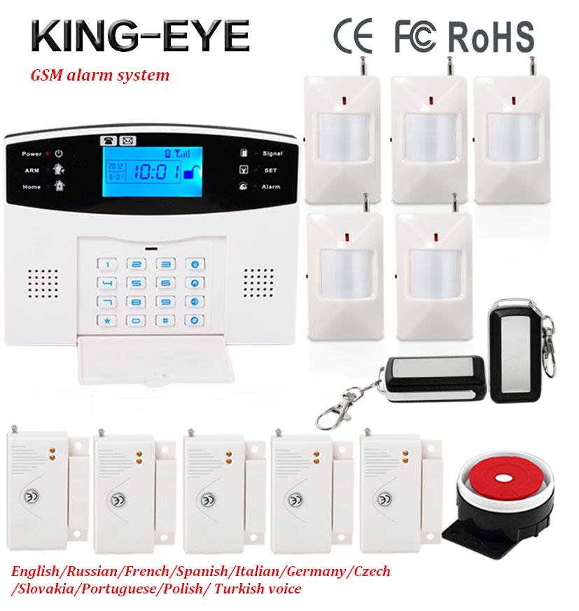 Russian/French/Spanish voice Wireless GSM SMS alarm system home security autodial intelligent anti-burglar PIR motion detector diy touch keypad wireless gsm sms autodial smart home security burglar alarm system smoke sensor voice pir emergency