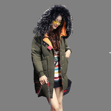 2017 Новый Зима Женщины Пальто Теплое С Капюшоном Хлопок Вниз Куртка Средний длинный Толстый Куртка Теплый Большой Меховой Воротник Пальто Мода Куртка SK46