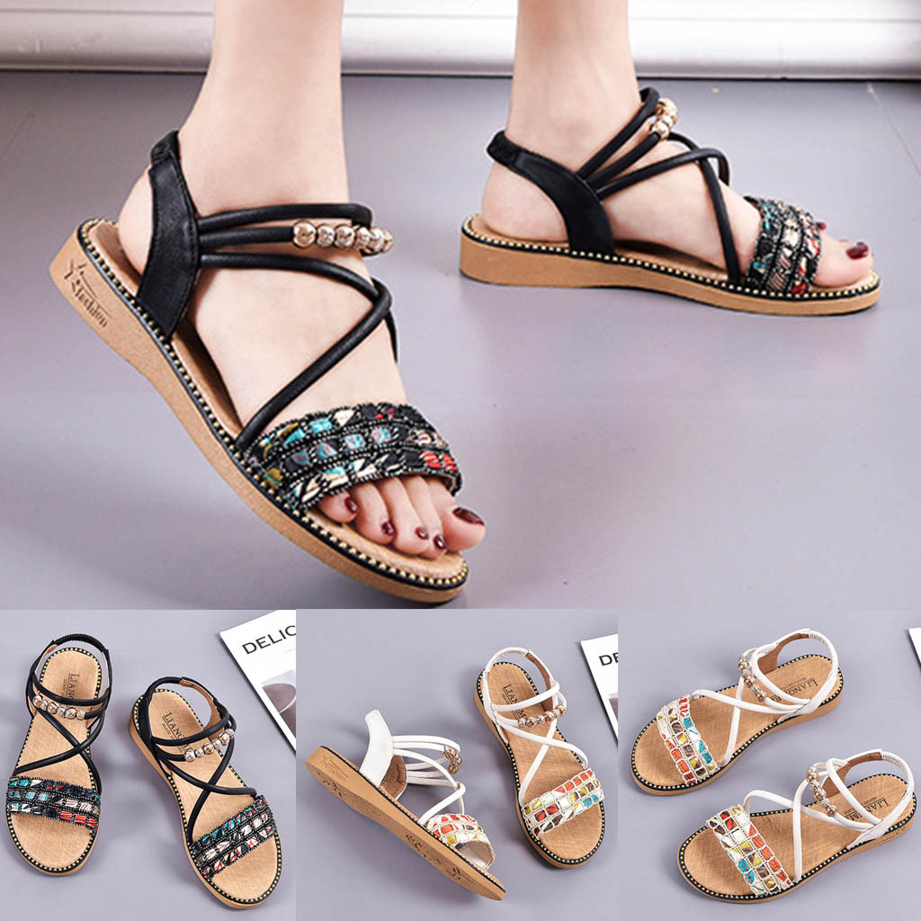Wedges Shoes For Women High Heels New Summer Fashion Flat-Heeled Sandals Beaded Roman  Women  Casual Shoes Sandals Femme
