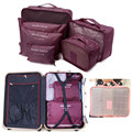 2016 New 6pcs/set  Waterproof Grid Net Storage Bags Clothes Shoes Stationery Makeup Travel Suitcase Sorting Organize Bag Case