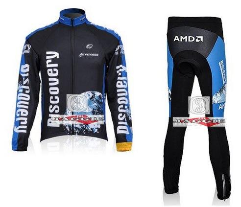 ФОТО Winter clothes! Discovery 2007 team long sleeve cycling fleece jersey pants bike bicycle thermal fleece wear set+Velveteen!