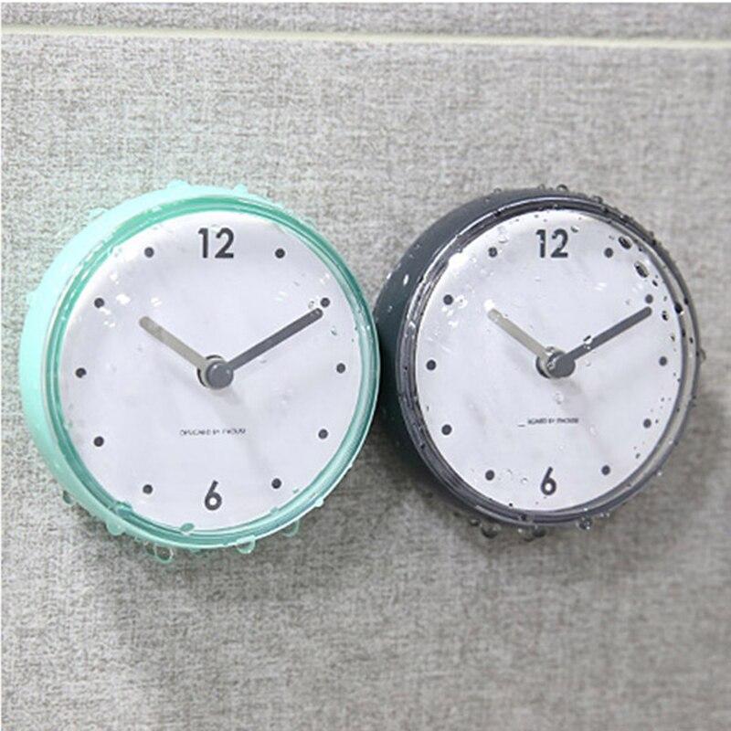 Creative Bathroom Waterproof Suction Wall Clock 2019 New Arrival Plastic Quartz Clocks Home Decor Horloge Murale Gifts Hot Sales