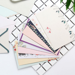 1 Set Lovely 4 Sheet Letter Paper+2 Pcs Envelopes Finely Flower Animal Letter Pad Set Writing Paper for Office School Supplies