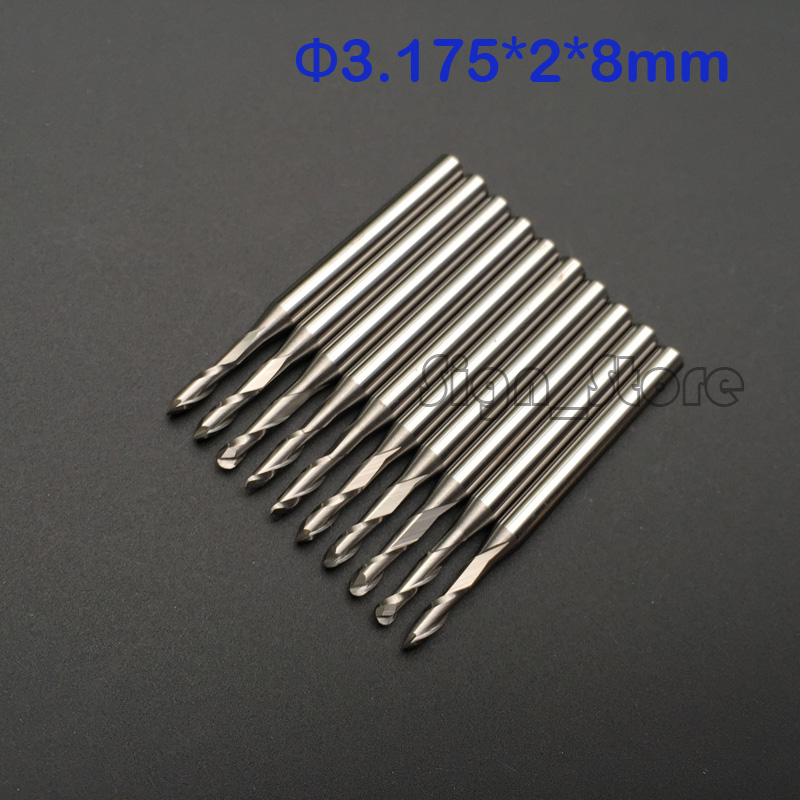 10 pcs/lot 3.175X2.0X8mm 2 Double flutes ball end mill,milling cutters,cutting tools,solid carbide,cnc router bits,free shipping  цены