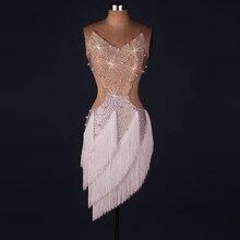 Lady performance latynoskie ubrania do tańca starsze kobiety kamienie sukienka z frędzlami do tańca latynoamerykańskiego dziewczyny latynoski pokaz taneczny sukienki taniec latynoamerykański