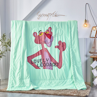 Cartoon style Summer Quilt Bedspread Blanket Comforter soft Bed Cover Twin full Queen Quilting kid green Pink Panther bedclothes