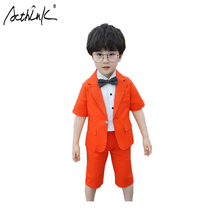 ActhInK 2019 2Pcs Boys Wedding Suit Boys Summer Linen Suit Baby Boys Formal Blazer Suit Kids Party Ceremony Suit For Boys brand wedding suit for flower boys campus student formal dress gentleman kids blazer shirt pant bowtie 4pcs ceremony costumes