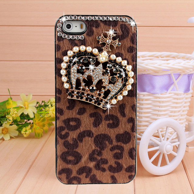 Handmade Horsehair crown rhinestone case for iphone 4 4s phone bag protective sleeve shell pearl crown diamond bling cover