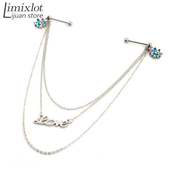Imixlot 6pcs Lot Love Letter Stainless Steel Body Chain Jewelry Fancy  Beautiful Women Sexy Crystal AB Flower Nipple Rings f57077d6874a