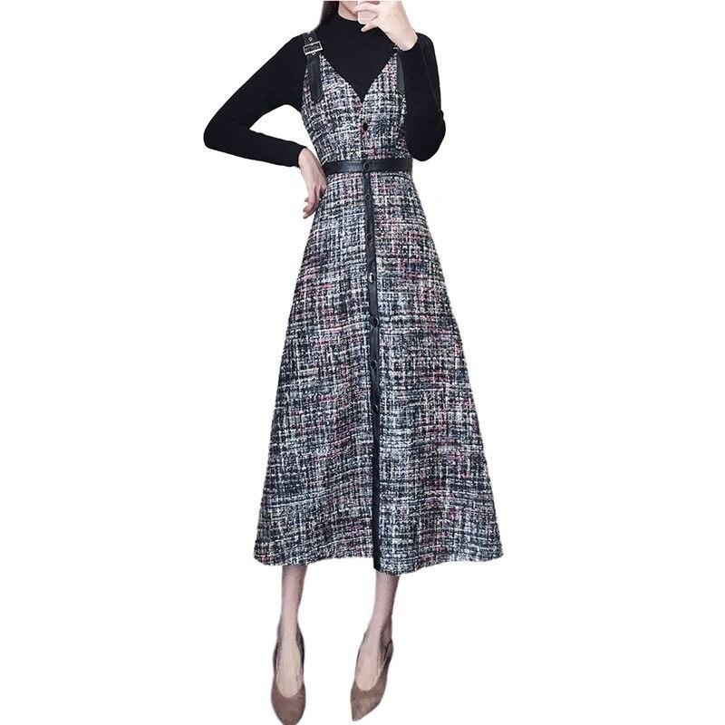 Tweed Tricoté Chandail Strap Costumes Élégants Dames Tops Ensembles Pièces Femmes ligne 2 Femelle V533 Automne A Hiver Robe Pull xvOYOq8