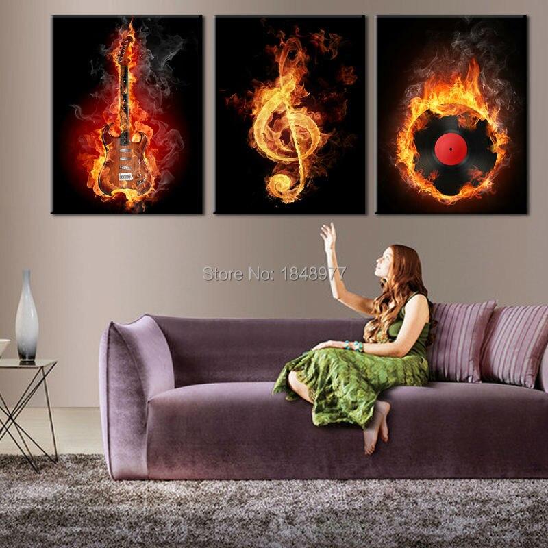3 стеновые панели искусство Современное Аватар своих стиль Гитары музыкой для украшения дома картина маслом на холсте картины напечатаны