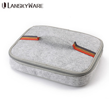 LANSKYWARE Portable Thermal Lunch Bag Chinese Square Shape Felt Tinfoil Box Bags Tote Women Kids Camping Picnic Bento