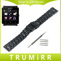 24mm Stainless Steel Watch Band Wrist Strap for Sony Smartwatch 2 SW2 Clasp Buckle Bracelet with Lock Link Remover & Spring Bar