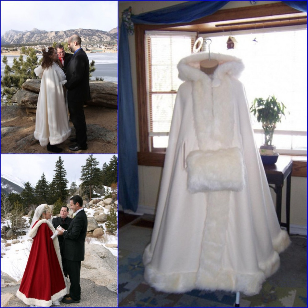 2018 Hot Sell White Ivory Bridal Cape Wedding Cloaks Hooded With Faux Fur Trim Warm Adult Winter Wedding Jacket Bridal Wraps