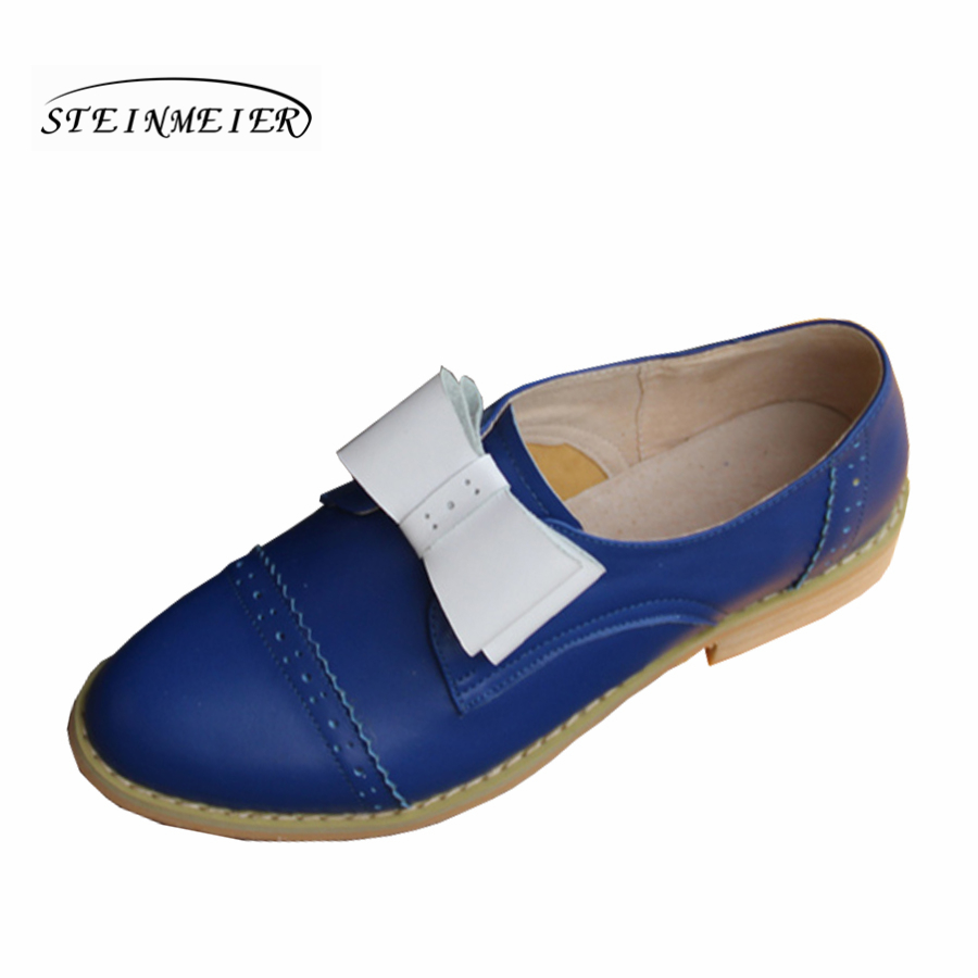 Femmes en cuir véritable Oxford chaussures pour les femmes bout rond chaussures décontractées noir bleu bow plat mocassins chaussures à la main chaussures plates-in Richelieus from Chaussures    1