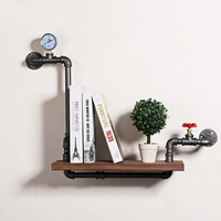 Retro Art Iron Pipe Wall Decoration Display Rack Shelves Living Room Storage Rack Wall Hanging Iron Pipe Wood Panel Book Shelf