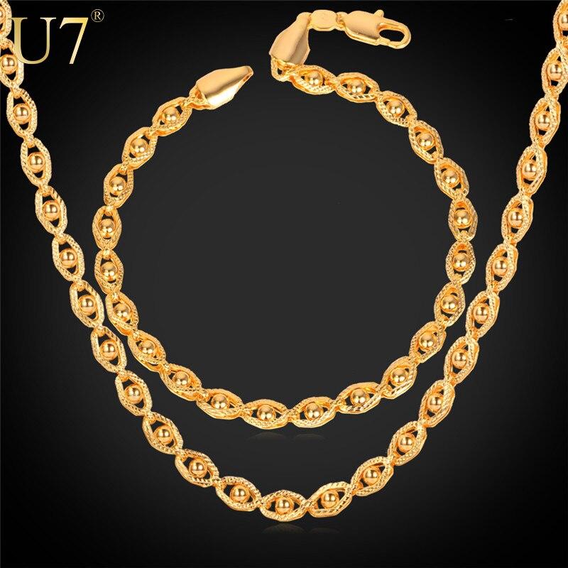 U7 pulsera y collar set rosa de color de oro cadenas de cuentas de sistema de la