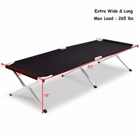 Aluminum Folding Camping Bed Outdoor Portable Military Cot Hiking Travel With Bag Outdoor Furniture OP3637