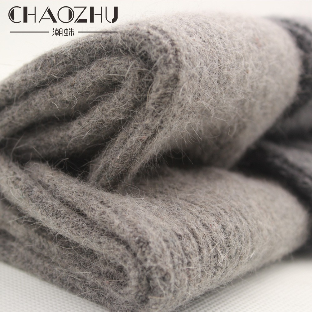 CHAOZHU Wool Rabbit Fur Thicken Warm Socks Winter Women Soft Solid Colors Basic Skarpetki Z Trendem Mody 2 Pairs Lady Socks