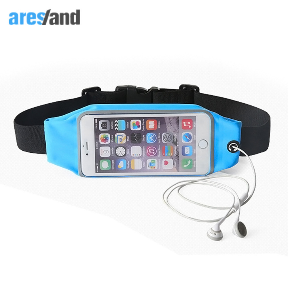 """Aresland Water Resistant Belt Waist Pack Bag for Iphone 6 6 plus 4.7"""" 5.5"""" Android Phone Transparent Touch Screen Earphone"""