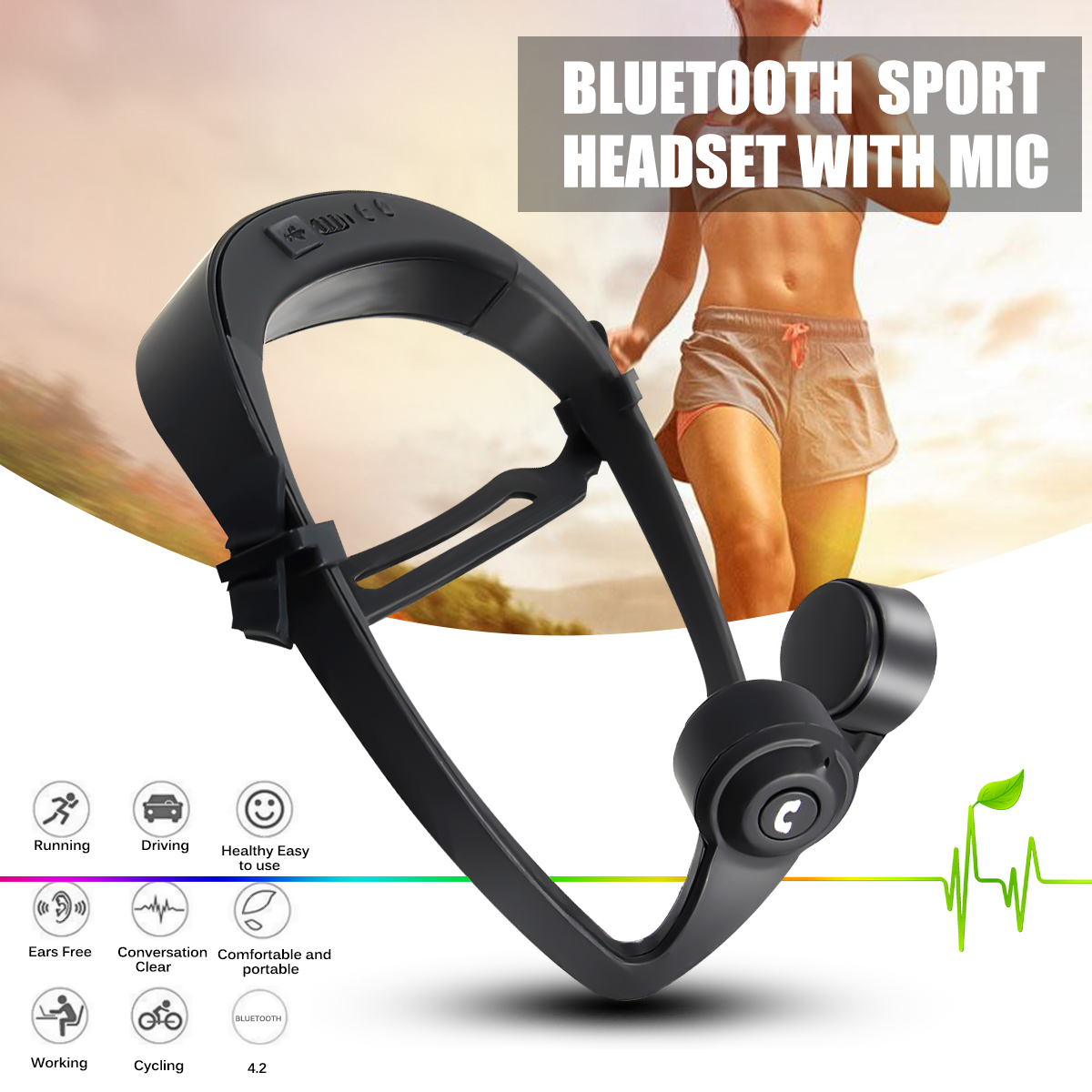 V9 Bone Wireless Bluetooth 4.2 Conduction Headset Ear Hook Ourdoor Indoor Sports Headphone w/Mic Adjustable Headband Universal open ear bone conduction headphones bluetooth v4 2 wireless sports headset adjustable stereo ear hook headband earphone with mic