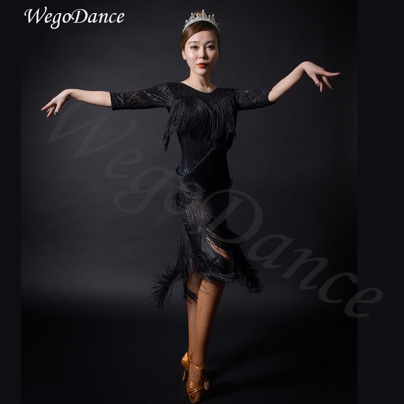 new latin tassel dress dance performance costume woman fringe clothing freeshipping