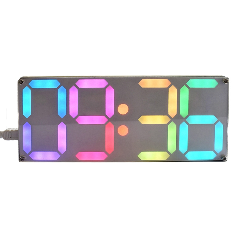 Large Rainbow Color Digital Tube DS3231 Clock DIY Kit With Customizable Colors Hot image