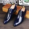 2017 Nuevos Hombres de Oxford de Charol Zapatos Plantilla Cómoda Cordón Zapatos de Vestir de Negocios Hombre Zapatos de Boda Plana 2 # D40