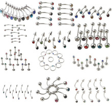 110pcs mix 11 styles surgical steel body piercing jewelry mix crystal stone nipple tongue belly button eyebrow labret lip rings
