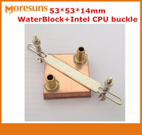 Free ship 53*53*14mm Pure copper Water Cooling Block,for Intel CPU buckle+Computer copper CPU Water Block