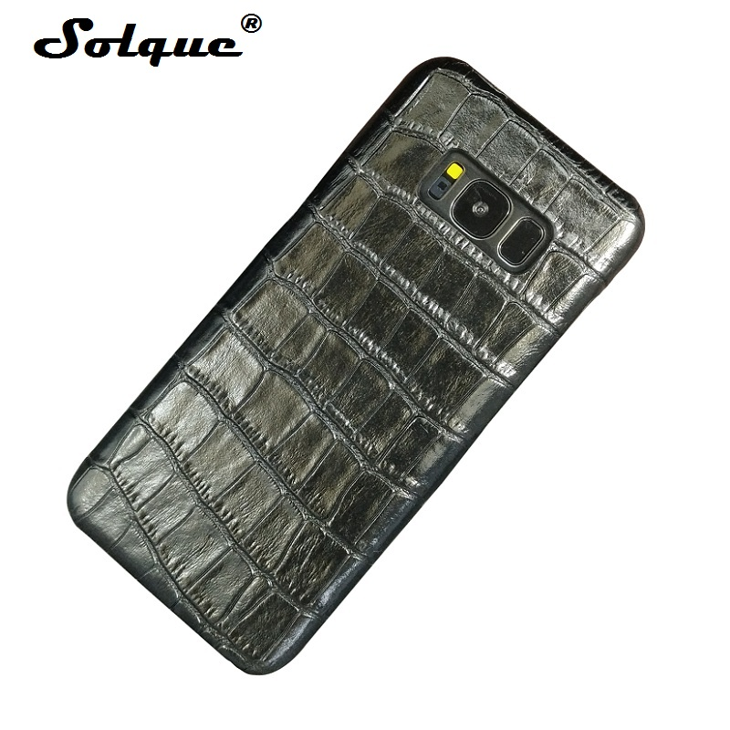 Solque Genuine Leather Case For Samsung Galaxy S8 Plus S 8 Cell Phone Slim Real Cow Leather Cover Luxury 3D Crocodile Pattern
