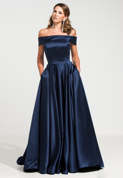 Navy Blue/Green Simple Prom Dresses Boat Neck A Line Party Dresses Formal Gown Vestidos Longos ...