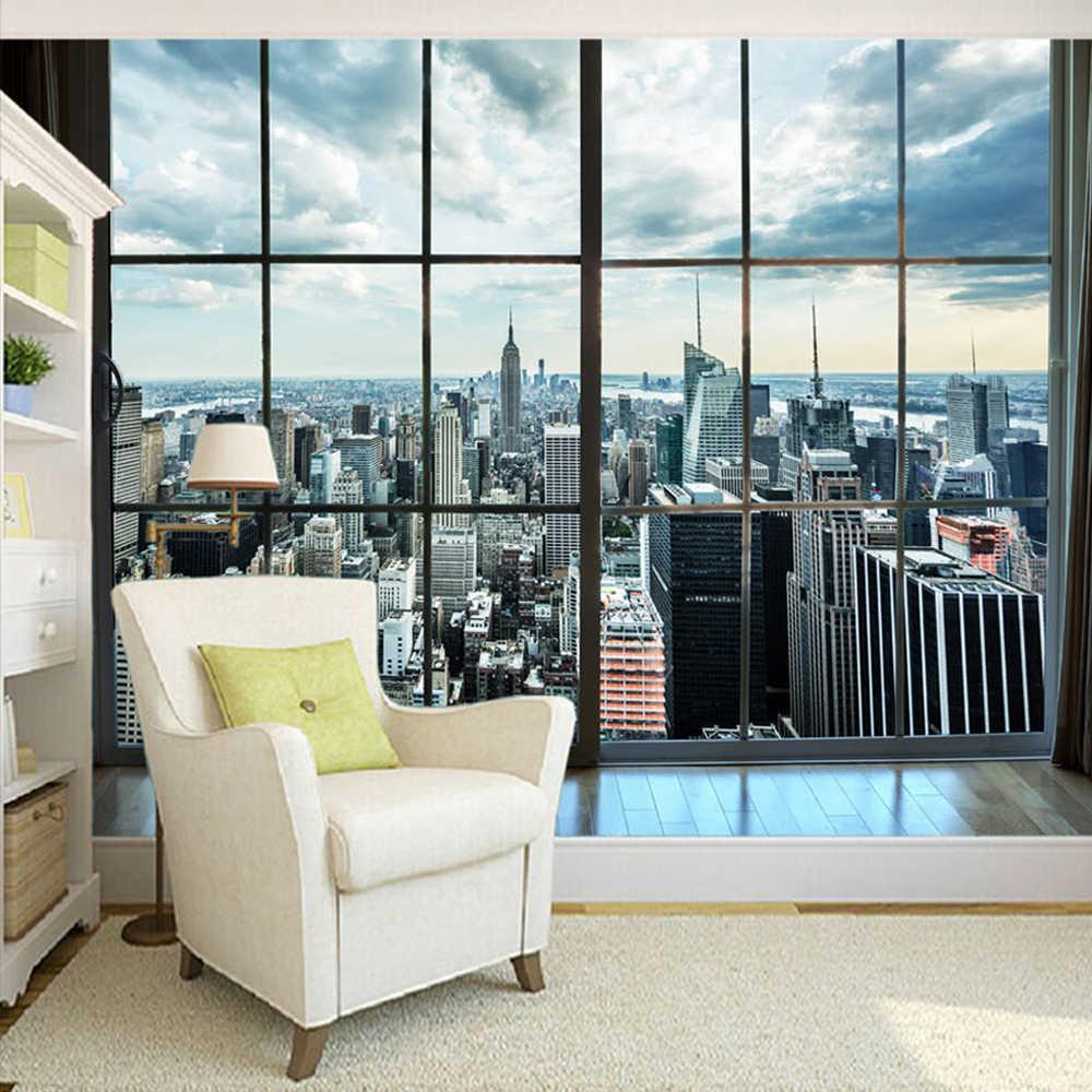 Пользовательские фото обои Нью-Йорк здание окно пейзаж Фото Фреска украшение дома гостиная украшение Мураль