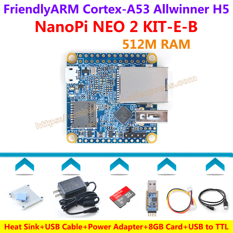 FriendlyARM NanoPi NEO2 Demo Board(512MB/1GB RAM)+Heatsink+5V/3A Power Adapter+USB to TTL+8GB Card+USB Cable=NanoPi NEO2 KIT-E-B fast free ship 16m flash csr8670 development board debug board demo board emulation board adk3 5 1 adk3 0 i2s spdif