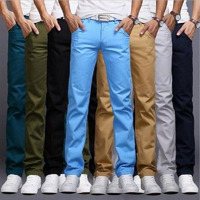 2017 Summer Spring  Fashion Business Casual Ctyle Pants Men Slim Straight Sasual Long Pants Fashion  Men Pants 9 Colors