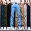 2017 Primavera Verano Moda Sasual Ctyle Business Casual Pantalones de Los Hombres Rectos Delgados Pantalones Largos Moda Hombre Pantalones 9 Colores