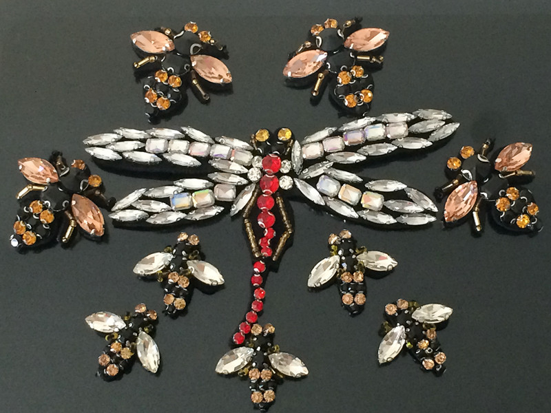 Manual Nail Glass Drill Dragonfly Bees Patch Bead Clothing Shoes Hat Sacrf Decorative Insect Patch DIY Accessories Applique Z088